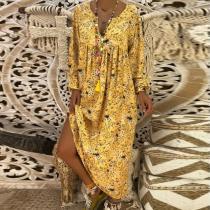 V Neck Long Sleeve Printed Maxi Dress