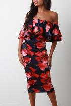 Sexy Off-Shoulder Floral Bodycon Dress