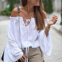 Fashion Shoulder Lotus Sleeve Tops