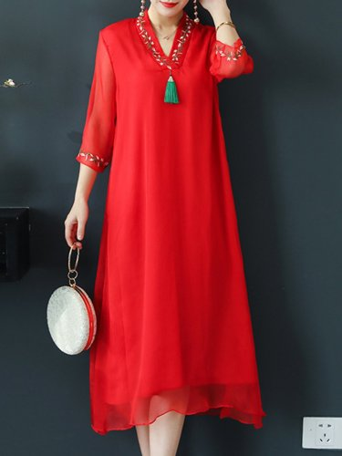 V Neck  Embroidery Maxi Dress