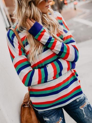 Fashion Rainbow Striped Long Sleeve Joker Top