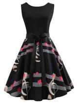 Round Neck Bowknot Zips Printed Vintage Dresses