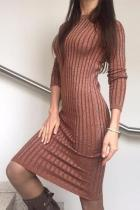 Casual Slim Sexy Slim Silk Dress With Round Collar Long Sleeves Mini Dresses