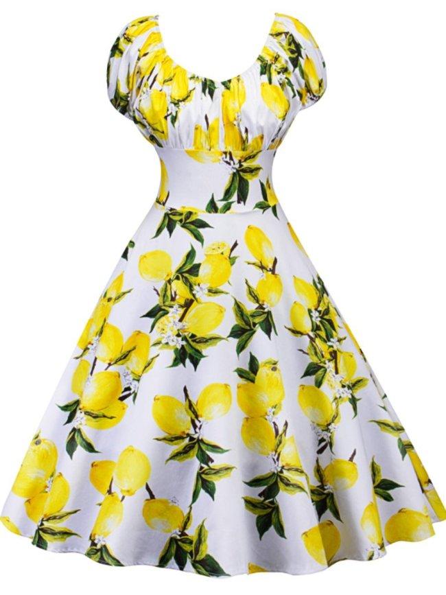 Round Neck Printed Vintage Dresses