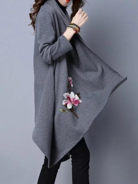 Asymmetrical Knitted Floral Casual Embroidered Poncho