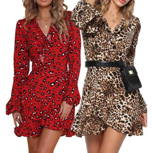V Neck Leopard Printed Long Flare Sleeve Casual Dress