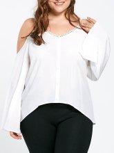 V-Neck Asymmetric Hem Plain Raglan Sleeve Long Sleeve Plus Size Blouses