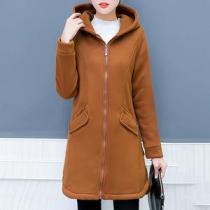 Hooded Flap Pocket Plain Fleece Lined Coat