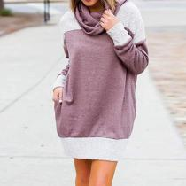 Turtle Neck Long Sleeve Color Block Casual Sweatshirts
