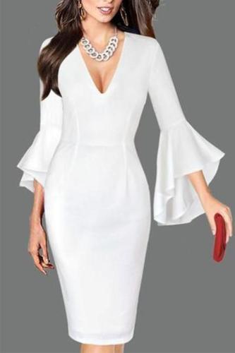Sexy Deep V Neck Pure   Colour Bell Sleeve  Slim Dress