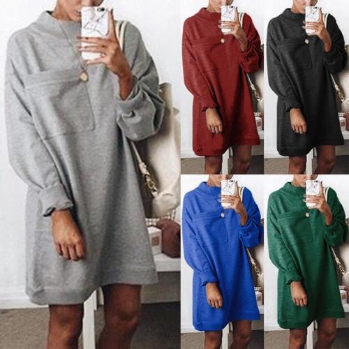 Round Neck Long Sleeve Plain Pocket Fashion Casual Dress