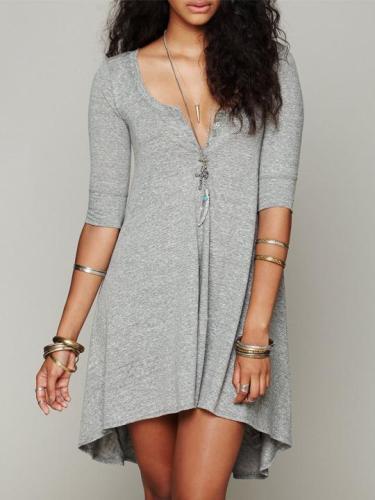 Stylish Irregular Hem Casual Shift Dress