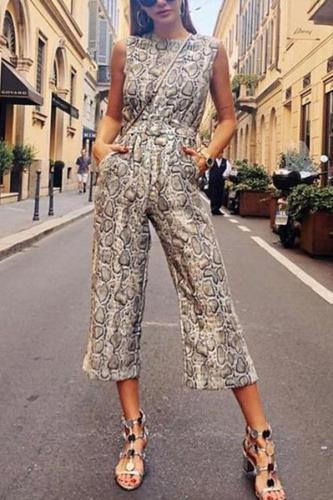 Fashion Leopard Print Sleeveless Jumpsuit