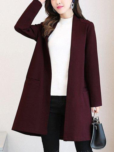 Collarless Pocket Plain Trench Coat