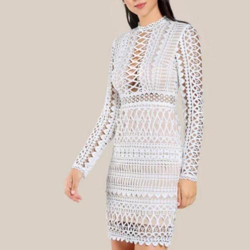 Sexy Slim Hollowed-Out Lace Dress