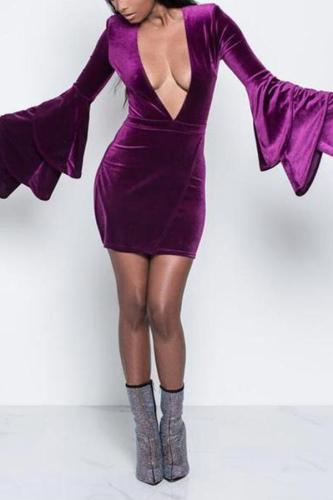 Sexy Deep V Irregular Bell Sleeve Bodycon Dresses