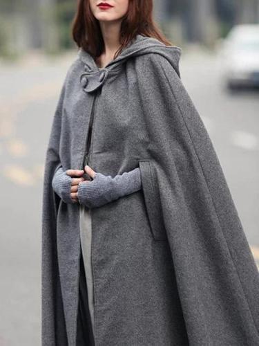 Women's Coat Casual Solid Hoodie Cape Sleeve Poncho Coat
