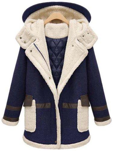 Hooded Flap Pocket Patchwork Color Block Coat