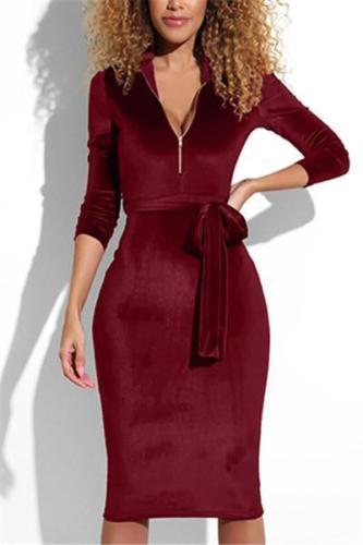 Sexy Pure Color V-Neck Zipped Fleece  Long Sleeves Bodycon Dress