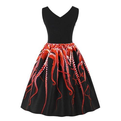 Plus Size Vintage Pumpkin Print Swing Dress