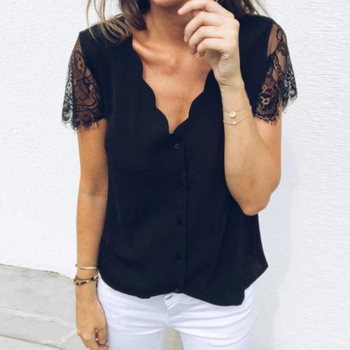 V-Neck  Lace Plain T-Shirts