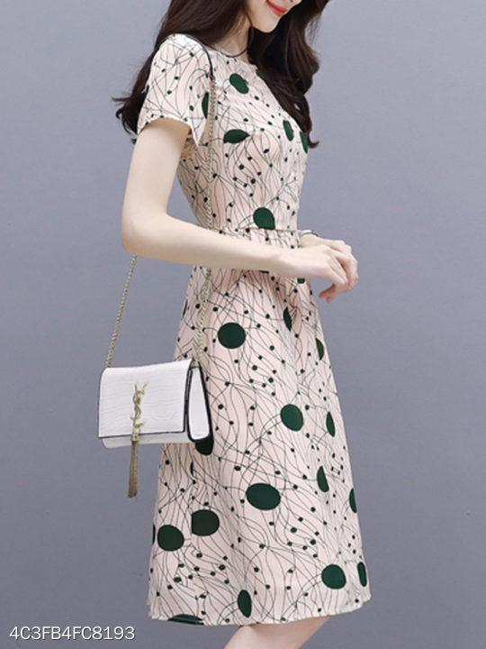 Round Neck Polka Dot Printed Skater Dress