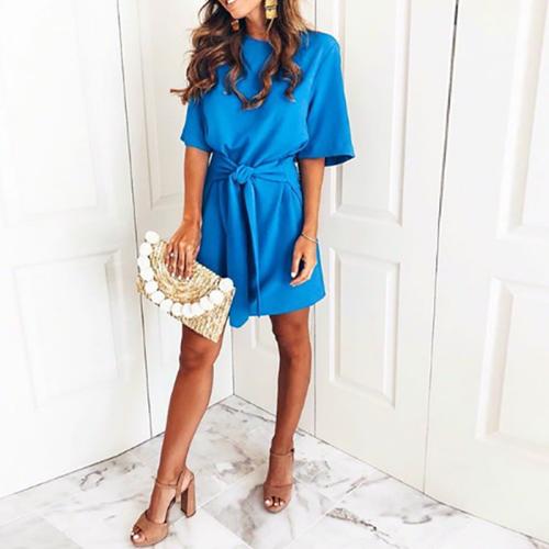 Elegant Blue Bandage Casual Dress