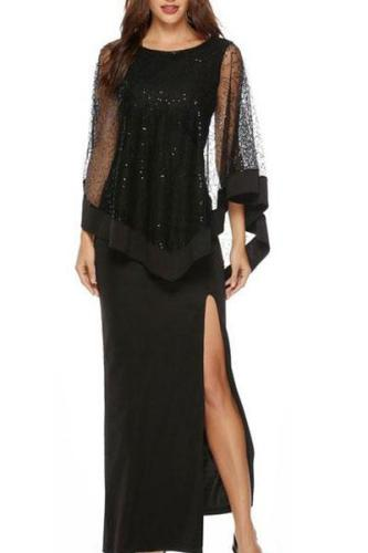 Sequined High Waist Slim Evening Dress