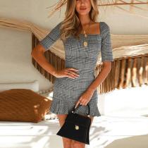 Fashion Square Collar Slim Fit Flouncing Bodycon Dress