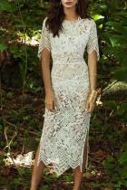 Elegant Lace Slit Bare Back Halflong Sleeve Bodycon Dresses