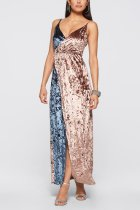Two Colors Stitching Velvet Evening Dress