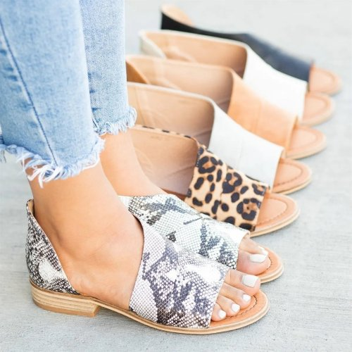 Peep Toe Leopard Sandals Casual Shoes