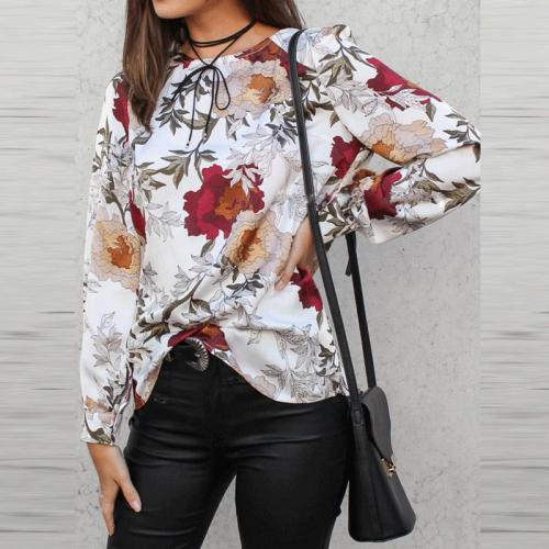 Fashion Floral Printed Loose Zipper Blouses
