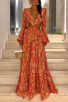 Sexy Deep V Lantern Sleeve Print Dress