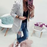 Fashion Stripes Long Sleeve Casual Blazers