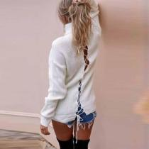Fashion High Neck Lace  Long Sleeve Sweaters