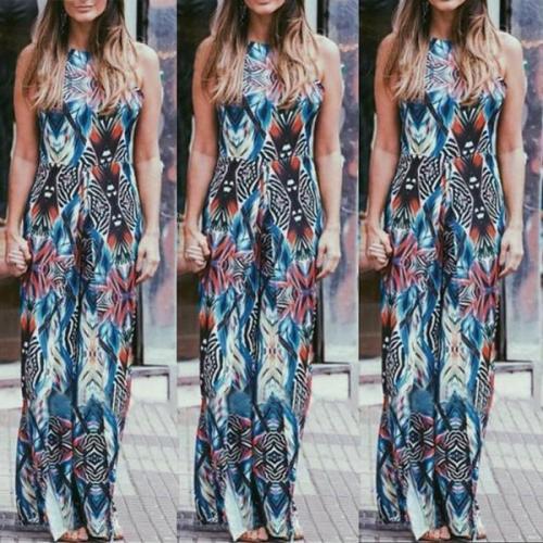 Bohemian Halter Printing Beach Vacation Dress
