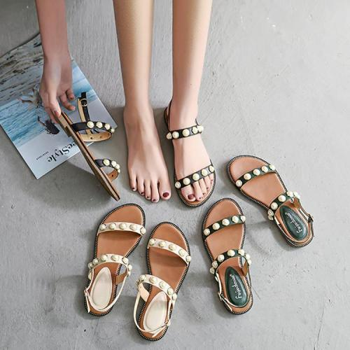 Bohemian Beaded Buckle Beach Sandals