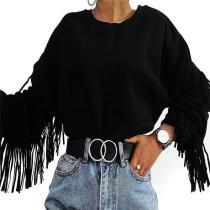 Fringed Round Neck Long Sleeve Sweatshirt