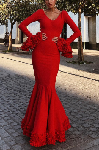 Sexy Plain Deep V Collar Ruffled Long Sleeve Hem Evening Dress