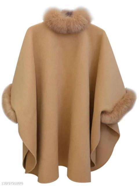 Faux Fur Collar Frayed Trim Plain Batwing Sleeve Coat