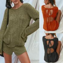 Round Neck Backless Lace Up Long Sleeve Knitting Sweaters Shorts Suits