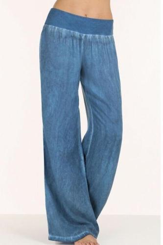 Elastic Waist  Patchwork Pants