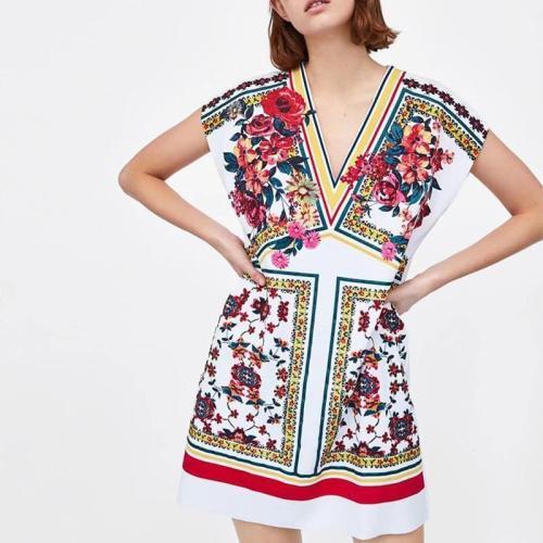 V Neck Sleeveless Printed Casual Dress