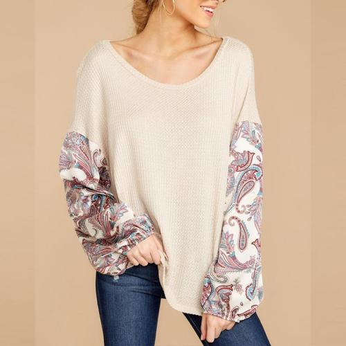 Round Neck Batwing Sleeve Printed Patchwork Casual T-Shirts