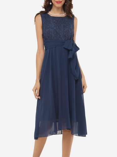 Lace Patchwork Plain Graceful Round Neck Skater-Dress