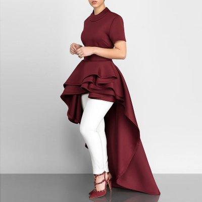 Short-Sleeved Lotus Leaf Irregular Expansion Maxi Dress