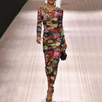 Fashion Round Collar Floral Printed Trim Hip Bodycon Dress