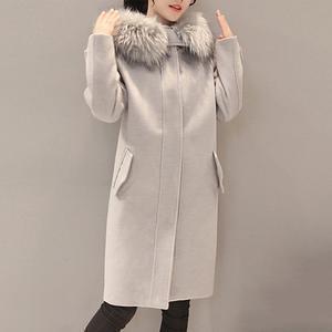 Hooded Flap Pocket Plain Longline Woolen Coat