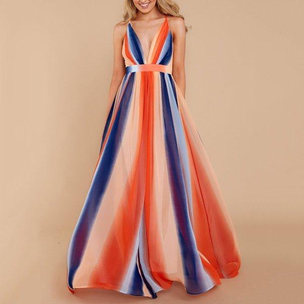 Sexy Orange Fashion Sleeveless Maxi Dress